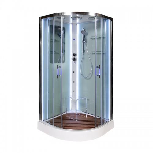 Душевая кабина Deto A 01 LED с кнопкой и гидромассажем (100x100)