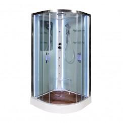 Душевая кабина Deto A 09 LED с кнопкой и гидромассажем (90x90)